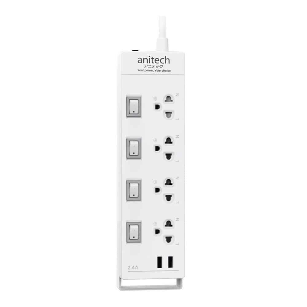 Anitech Plug4 Way4 Switch2 USB TIS H5234 White 1 square medium