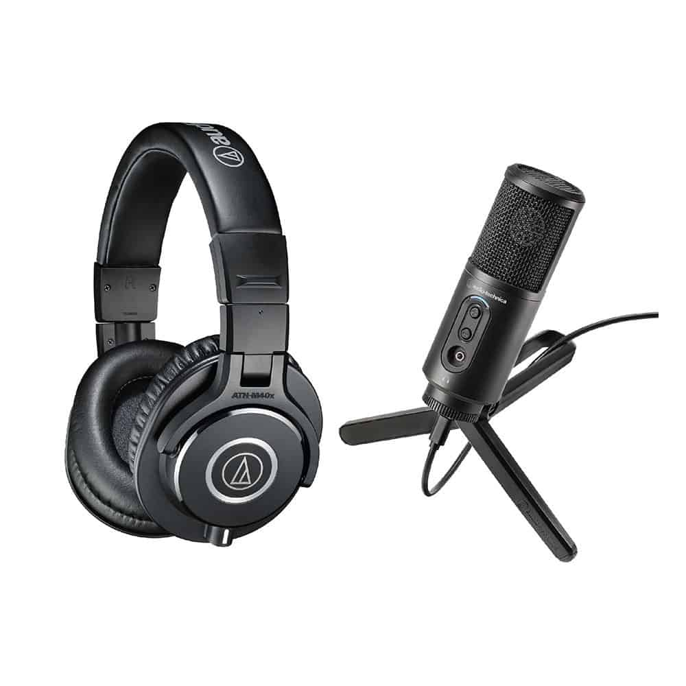 Audio Technica Headphone Over Ear M40X BlackMicrophone ATR2500X USB 001 square medium