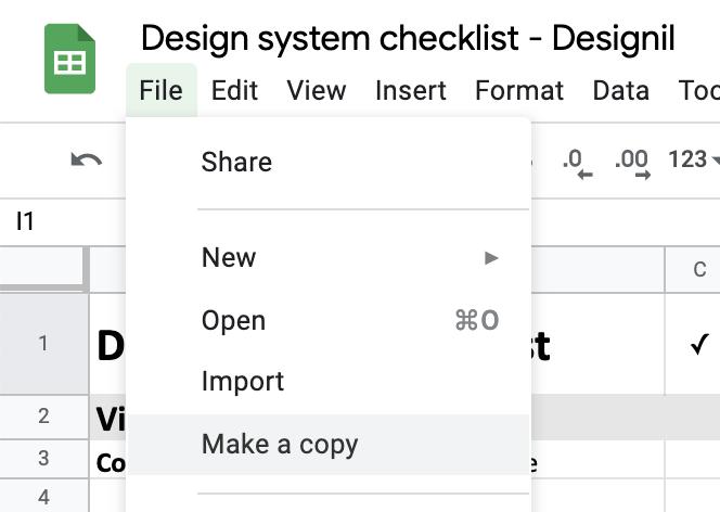 make a copy design system checklist